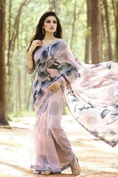 brahmani enterprise New Georgette Saree Fancy Sarees, Party Wear Sarees, Floral Print Sarees, Printed Sarees, Modern Saree, Simple Sarees, Saree Blouse Patterns, Saree Photoshoot, Stylish Sarees