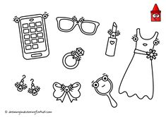 Drawing Stuff For Girls | Drawing Diamonds | Drawing Accessories | Girls Coloring Pages