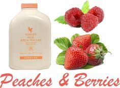 Peaches n' Berries (225 calories)    1 scoop Vanilla Forever Lite Ultra  4 oz. Forever Aloe Bits n' Peaches  5 oz. skimmed/soya milk  1/2 cup frozen raspberries or strawberries  Crushed ice  Blend until smooth. #strawberries #raspberries #smoothie #vanilla #foreverlite #peaches #milk #skimmedmilk #berries