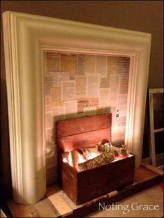 Faux Fireplace Tutorial - Love the book pages and the glow from the hidden Christmas lights. Pretty!