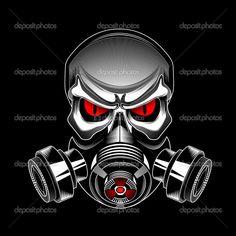 Skull wearing a gas mask — Stock Vector © ashmarka #