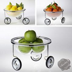 Arnout Visser Fruit on Wheels Fruit Bowl Modern Fruit Bowl, Fruit Storage, Design Museum, Postmodernism, Kitchen Cart, Recycled Glass, Modern Interior Design, Tableware, Baskets