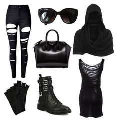 """""""#5 all black everything"""" by koneko-yagami on Polyvore featuring Religion Clothing, AllSaints, Gestuz, Giuseppe Zanotti, Givenchy and Chanel"""