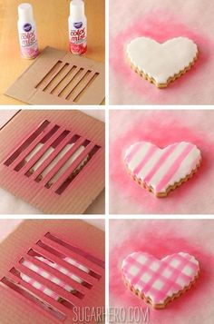 If you're looking for gorgeous Valentine's Day treats, check out the below 10 creative cookies. These Valentine's Day cookies look SO good. Way too good to eat! Galletas Cookies, Iced Cookies, Royal Icing Cookies, Cookies Et Biscuits, Sugar Cookies, Sugar Cake, Heart Shaped Cookies, Heart Cookies, Cute Cookies