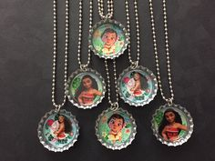 Moana Bottle Cap Party favors (6) / add more for 2 dollars each / Your choice of images by PPPartyFavors on Etsy