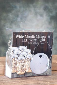 Mason Jar Lights  Fairy Lights Battery Op. Warm White (fits a Wide Mouth Mason Jar)
