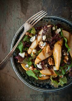 Roasted Pear & Gorgonzola Salad with Balsamic Vinaigrette