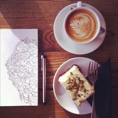 Art..coffee..cake. A few of my favorite things ~ life is good! :-)