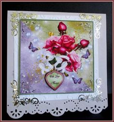 Rose garden on Craftsuprint designed by Debra Jenkinson - made by Rae Trees - I printed the design on good quality matte photo paper and attached the base to a white mat and then onto a lilac card. I assembled the elements with foam pads and added one of the sentiments and four silver corners. beautiful designl - Now available for download!