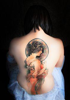 "Alphonse Mucha ""Primrose"" Tattoo. Absolutely amazing!"