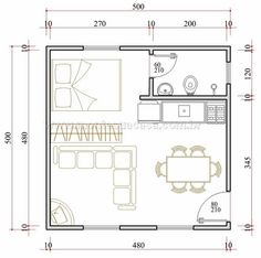 flip, with bath in back left. Tiny House Layout, House Layouts, Studio Apartment Layout, Apartment Design, Tiny Spaces, Small Apartments, Small House Plans, House Floor Plans, Apartment Floor Plans