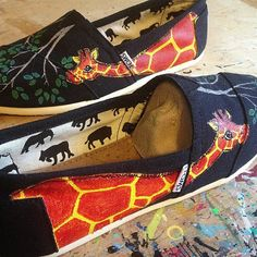 hand painted toms shoes, ready to wear women size 9.5 toms hand painted by artfulsoles, my most popular giraffe design!