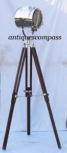 Nautical Spot Search Light Studio Photography Floor Lamp W Wooden Tripod Stand Lamp Front Diameter - 21.5 cm. Lamp Front to Back - 21.5 cm. Lamp Ear To Ear - 27.5 cm. Fully Open Size - 147.5 cm.