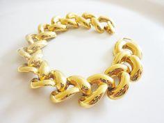 vintage Napier chunky bracelet shiny gold tone by LorenzoMele, $18.00