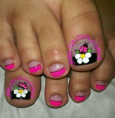 Cute Toe Nails, Cute Toes, Pretty Toes, Toe Nail Art, Fun Nails, Pretty Nails, Cute Pedicures, Pedicure Nails, Pedicure Designs