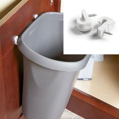 Swinging Trash inside bathroom counter. Easy project for my hubby to do this weekend!