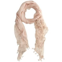 Mint Velvet Lace Scarf, Pale Pink found on Polyvore