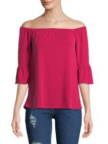 f7ddb75361f Samba Cold-Shoulder Cotton Top - Walmart.com