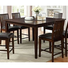 Furniture of America Copter Transitional Dark Walnut Counter Height Dining Table