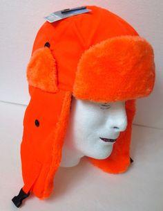 ed28020ea11ec AVIATOR TRAPPER WINTER HAT Bright Orange Hunting Outdoor Ski Faux Fur Men  Women