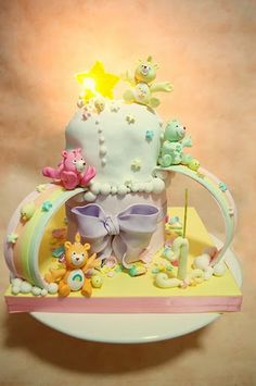 Care Bear Cake ~ Self-mold Sugar Star Candy with a real working light behind the star  making it shines bright