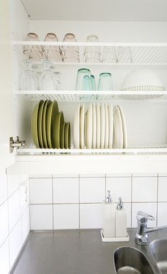 drip dry kitchen cupboard.  Convert the cupboards to the L of the sink to this in IL.  Perfect for brekky and lunch, use dishwasher for supper only