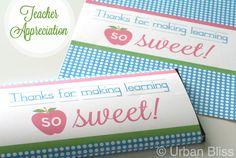 Teacher Appreciation Week Printable: Candy Bar Wrapper // Urban Bliss