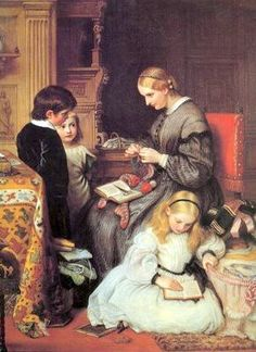A life well spent, painted by Charles West Cope in The motif is simply a representation of the ideal house-wife of mid-Victorian England's middle-class. Classic Paintings, Paintings I Love, Beautiful Paintings, Victorian Paintings, Victorian Art, Images Vintage, Vintage Art, Victorian Literature, Art Occidental