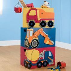 Construction Vehicle Stackable Storage Bins - Kids Decorating Ideas