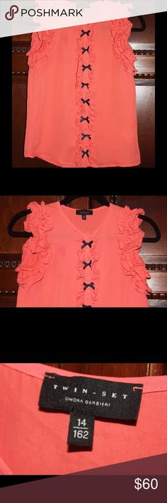 Designer Crepe Blouse by Simona Barbieri Twin Set Tangerine Blouse by Italian Designer Simona Barbieri | Twin Set.  Ruffles at shoulder for unique detail with navy accents. Crepe top buttons to waist. Purchased in Rome, size is Girls 14, but sizes to a US XS/Small. Simona Barbieri - Twin Set Shirts & Tops Blouses