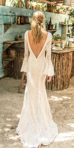 Fascinating Open Back Wedding Dresses ★ Backless wedding dresses are in increased demand, so it was only fitting that we dedicated a board to the daring fashion statement. Romantic Bohemian Wedding Dresses, Backless Wedding, Fall Wedding Dresses, Bridal Dresses, Wedding Gowns, Romantic Lace, Wedding Bride, Wedding Reception, Lace Wedding