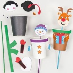 Kits Marionnette pop-up de Noël que les enfants pourront fabriquer pour ensuite pouvoir jouer (Lot de 4)