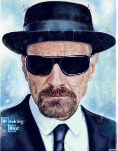 digital portrait of Walter White(Heisenberg) from AMC Breaking Bad.