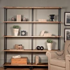 Large Iron and Wood Factory Shelves