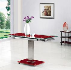Enke Red Glass Extending Dining Table Only Great for city living and smaller flats only great for Black Extendable Dining Table, Black Glass Dining Table, Dining Table In Kitchen, Glass Table, Square Dining Tables, Wooden Dining Tables, Dining Table Chairs, Dining Sets, Dining Table Dimensions