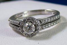 Fine Estate 14k Diamond Halo Engagement Ring with Split Shank. addicted to vintage!