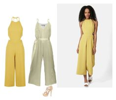 """""""Yellow jumpsuits"""" by penelope1234567 ❤ liked on Polyvore featuring Topshop"""