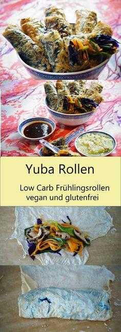 Yuba Rollen - low carb Frühlingsrollen aus Tofuhaut. Super einfach herzustellen und eine tolle Mahlzeit für die leichteren Tage. Diese glutenfreien und veganen Yuba Rollen sind die absolute Geschmacksexplosion! Superfood, Carb Day, Asian Love, Spring Rolls, Vegan Dishes, Vegan Gluten Free, Tofu, Plant Based, Vegan Recipes