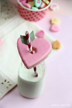 Glazed Heart Cookie Glass Toppers