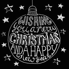Kerstkaart kerstbal zwart-wit 1