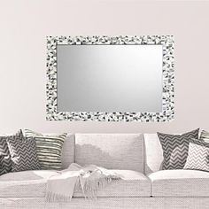 Silver, Gray, White Mosaic Wall Mirror Mirror Mosaic, Mosaic Wall, Wall Mirror, Neutral Color Scheme, Color Schemes, Tiles Texture, Grey Glass, Different Textures, Grey And White