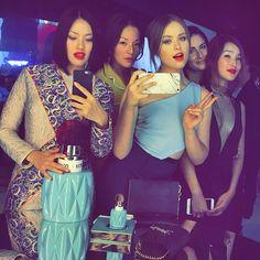 With the girls at the @miumiu club  #miumiu more on Snapchat