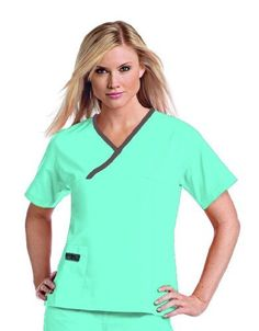 Urbane Scrubs Classic Crossover Top  XS Apparel Size XSmall Color Aqua Breeze W Chocolate Model 9501 Tools  Hardware store -- Find out more about the great product at the image link.