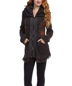 Look at this Nicole Sabbattini Black & Gray Wool-Blend Zip-Up Jacket on #zulily today!