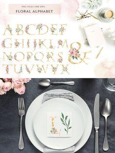 Beautiful! Wedding Graphics, Rose Wedding, Gold Foil, Watercolor Flowers, Alphabet, Decorative Plates, Monogram, Tableware, Floral
