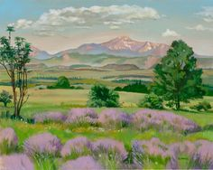 Pikes Peak with Wild Lavender. Painting by Painting for Life.