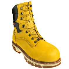 Wolverine Boots Men's 10618 Safety Toe Insulated Waterproof Wheat 8-In