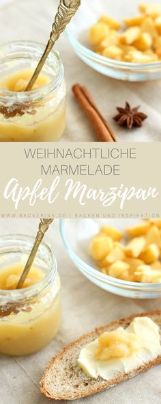Festive winter apple jam with marzipan and almond liqueur - Marmelade - Food&Drink Apple Recipes, Fall Recipes, Fall Desserts, Dessert Recipes, Apple Jam, Christmas Breakfast, Oreo, Food Menu, Sweet Tooth