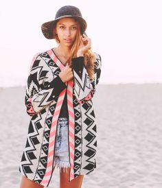 The Ajei Navajo Pattern Knit Open Cardigan is a classic slim fit, ethnic patterned open cardigan. Its all over Navajo patterns stands against the elements.