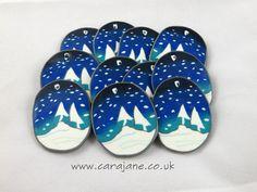 Cara Jane 'winter trees snowglobe' polymer clay Christmas decoration